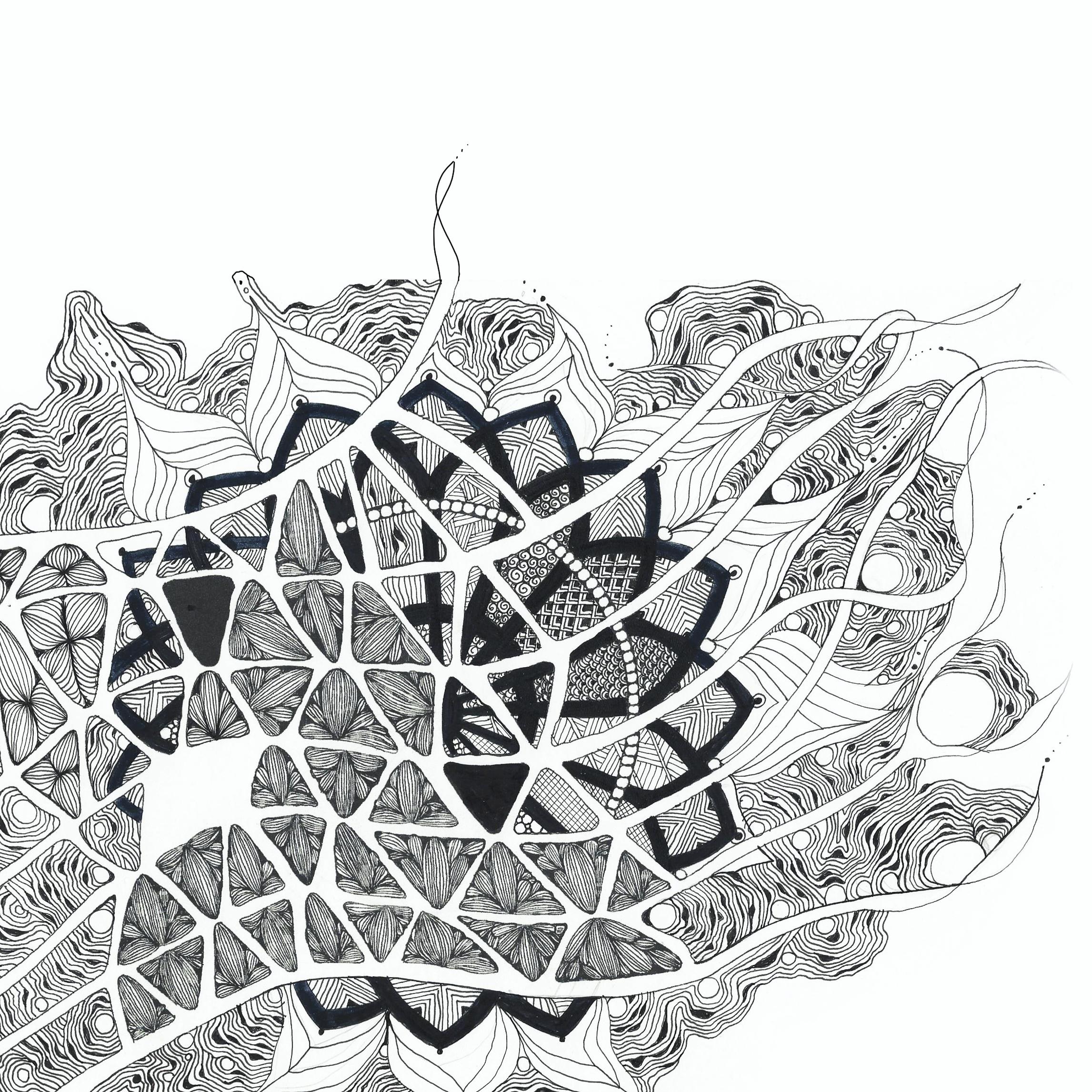 Abbildung eines zentangle inspired art mit einem Netz
