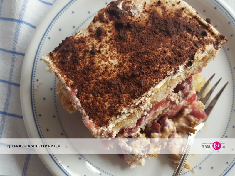 Einfaches Dessert, Quark-Kirsch-Tiramisu, anfängertauglich.